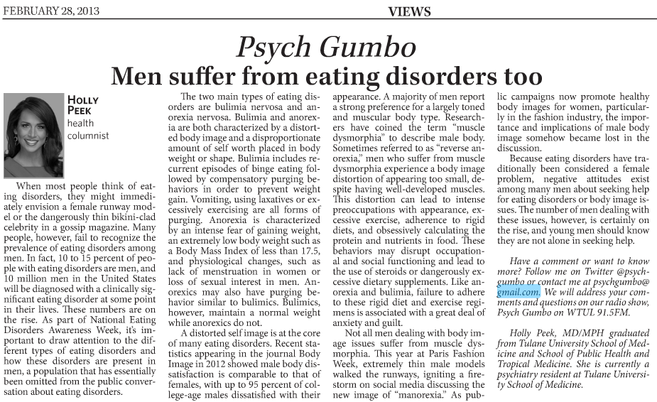 an introduction to the issue of males with eating disorders On oct 1, 2012 leigh cohn published: introduction to the special issue on males with eating disorders.