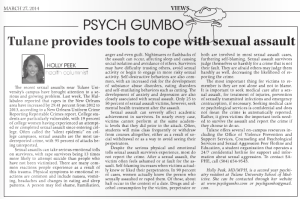 Tulane provides tools to cope with sexual assault